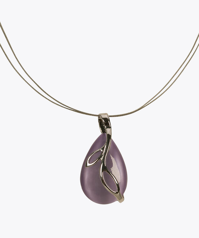 Teardrop Cateye Leaf Wire Necklace, Iced Violet/Rhodium, hi-res