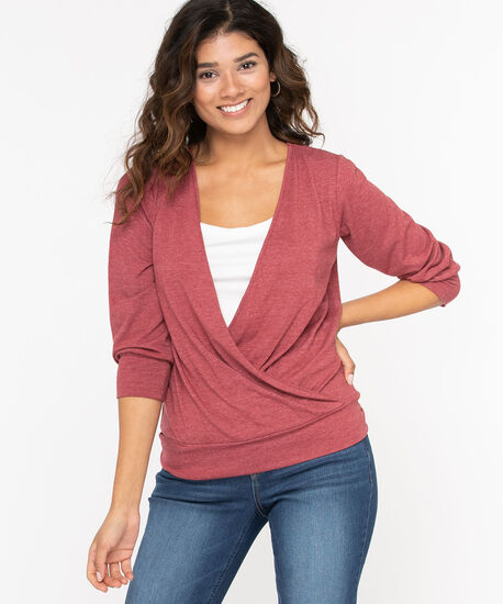 Wrap Front Banded Bottom Top, Windsor Wine, hi-res