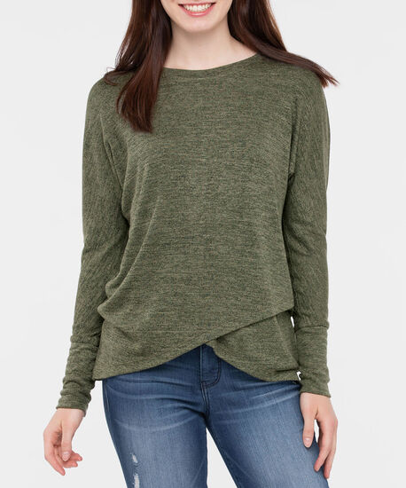 Long Sleeve Crossover Hem Top, Autumn Olive, hi-res