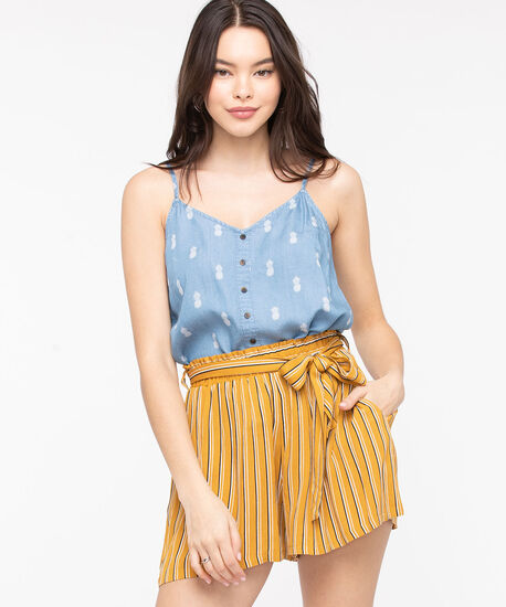 Strappy Pineapple Print Tencil Blouse, Light Blue/Ivory, hi-res