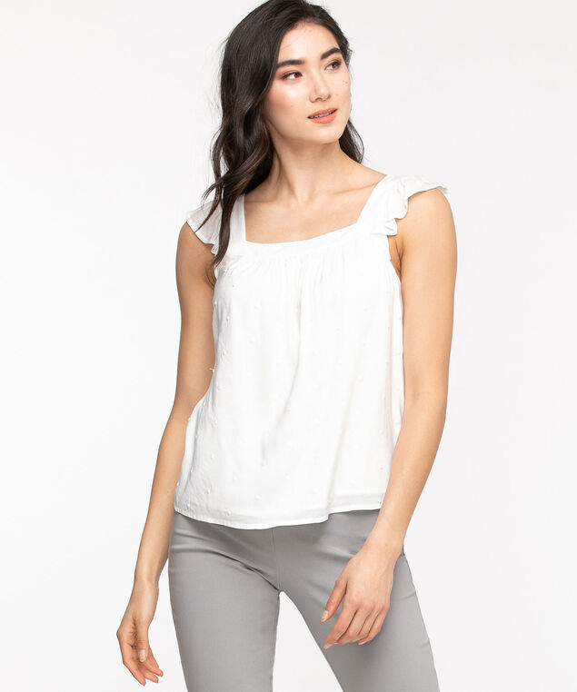 Flutter Sleeve Square Neck Blouse, Solid Pearl