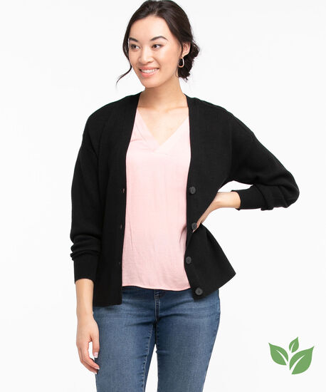 EcoVero™ Ribbed Button Front Cardigan, Black, hi-res