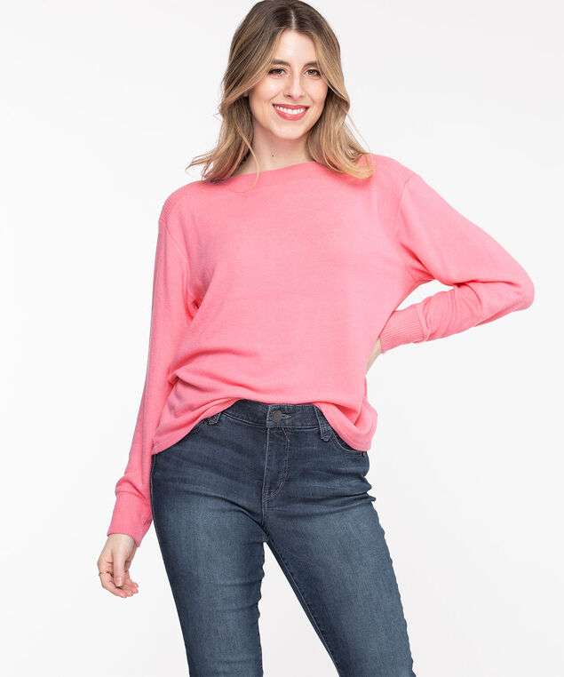 Ribbed Trim Boat Neck Pullover, Morning Glory