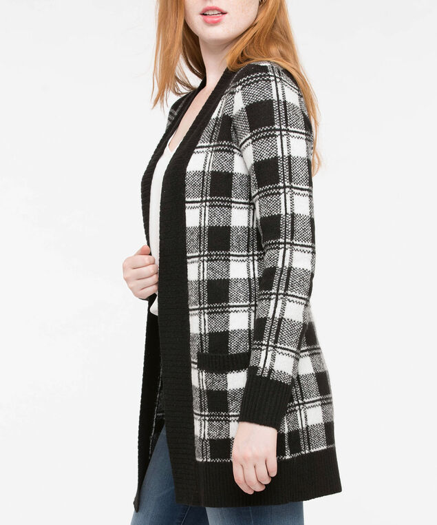 Long Plaid Plush Open Cardigan, Black/Pearl, hi-res