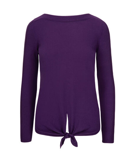 Open-Sleeve Tie Waist Pullover, Royal Purple, hi-res