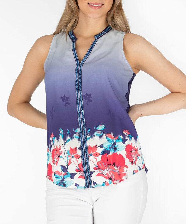 Sleeveless Mixed Media Henley Top, Blue/Coral/White, hi-res