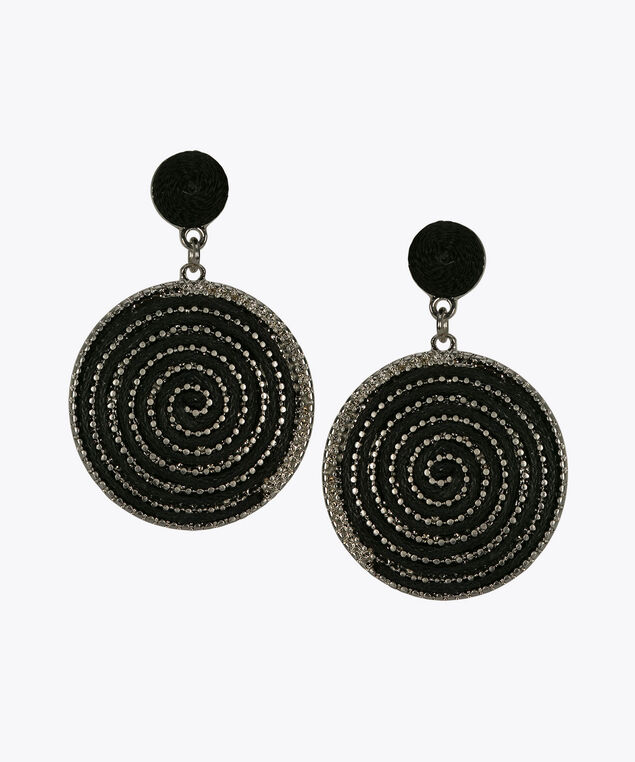 Metal Swirl Drop Earring, Black, hi-res