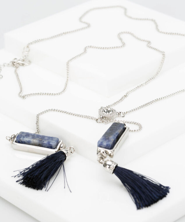 Natural Stone & Tassel Lariat Necklace, Deep Sapphire/Rhodium, hi-res