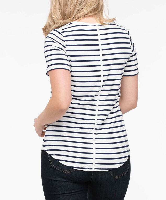 Short Sleeve Scoop Neck Top, Pearl/True Navy, hi-res
