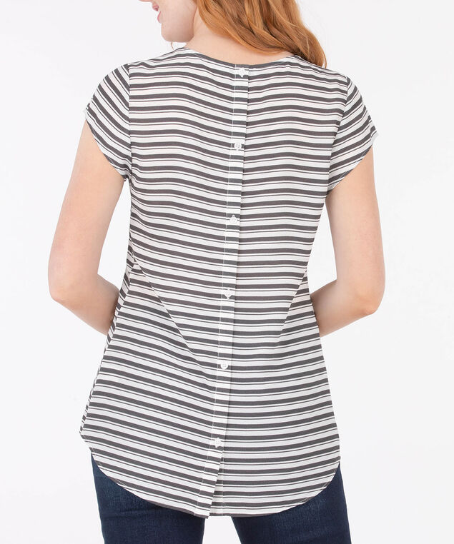 Button Back Tulip Sleeve Blouse, Grey/White, hi-res