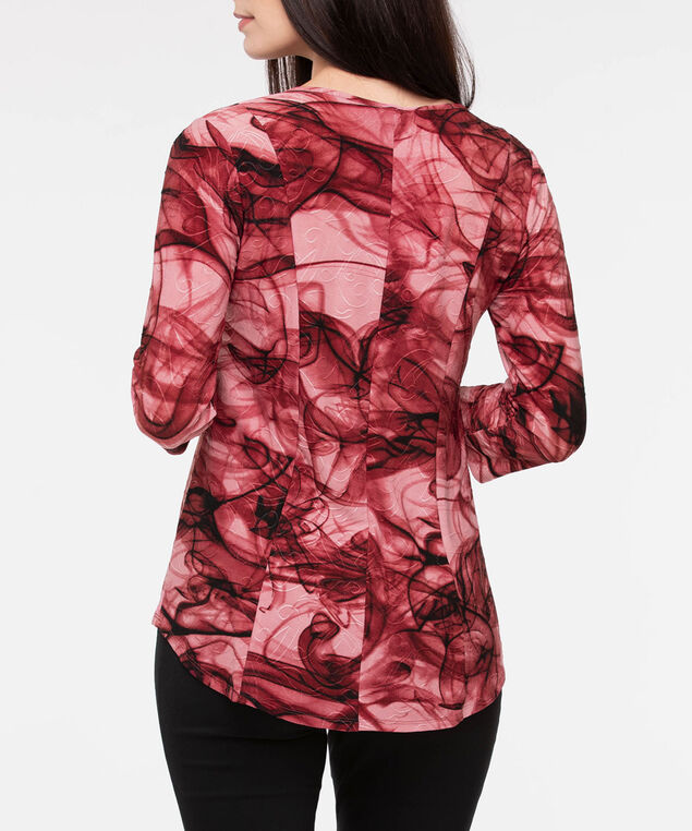 Marbled Pleat Hem V-Neck Top, Burgundy/Soft Pink/Black, hi-res