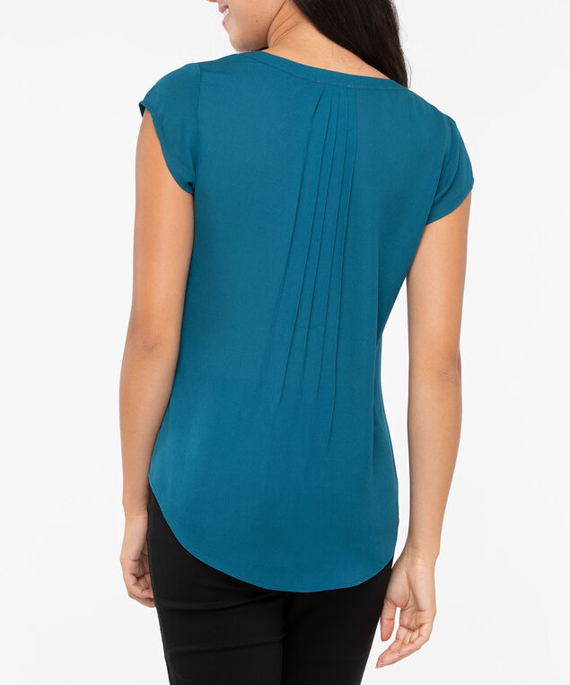Short Sleeve Pleated Henley Blouse, Steel Blue, hi-res