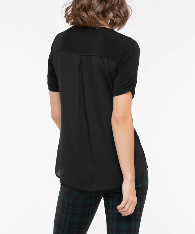 Tab Front Pleat Back Top, Black, hi-res