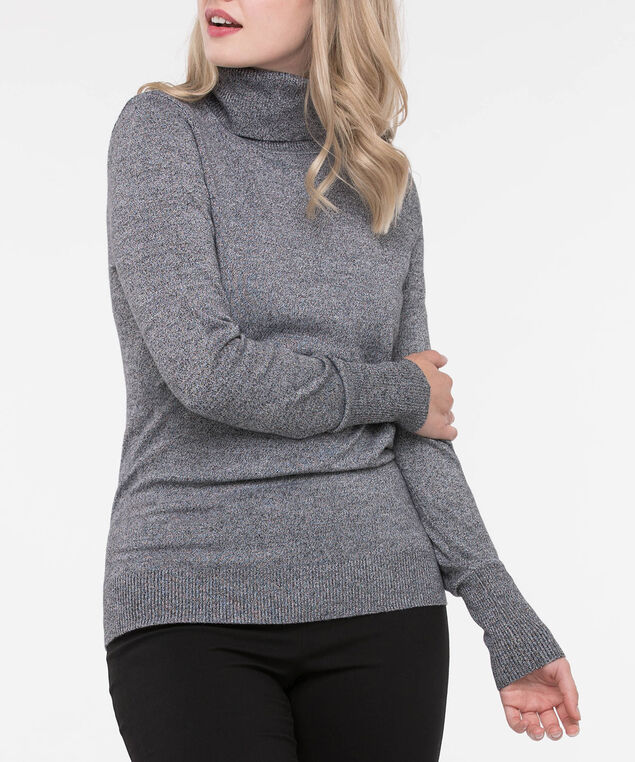 Long Sleeve Turtleneck Sweater, Black Mix, hi-res