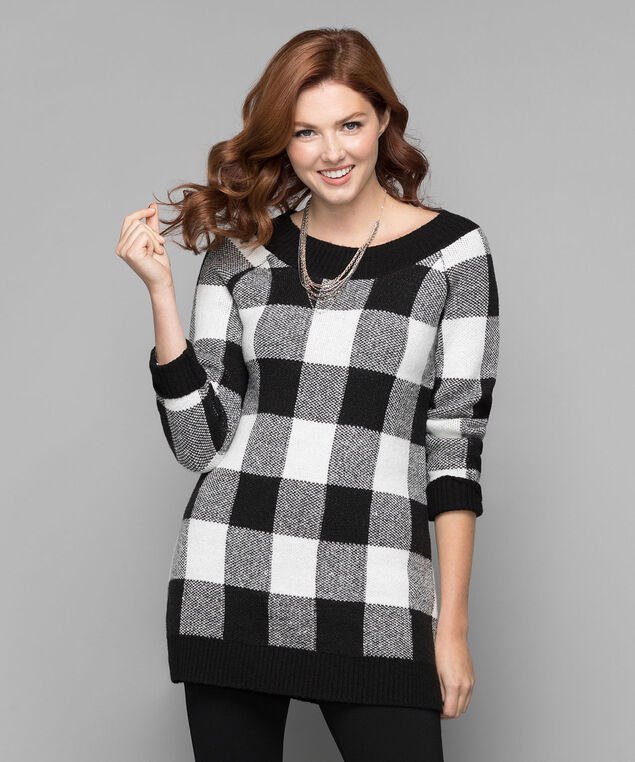 Plush Buffalo Check Tunic Sweater, Black/Milkshake, hi-res
