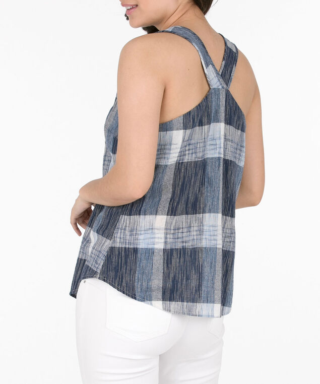 V-Neck Cross Back Sleeveless Blouse, Blue/Deep Sapphire, hi-res