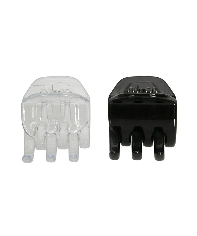 Hair Clip Set, Black/Clear, hi-res