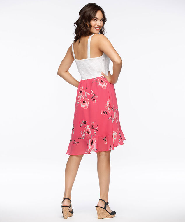 Eyelet Bodice Tulip Skirt Dress, Coral/White, hi-res
