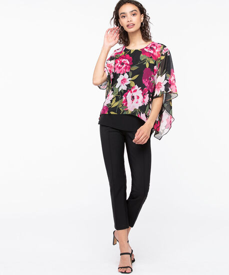 Floral Cape Overly Top, Black/Mid Pink/Green, hi-res