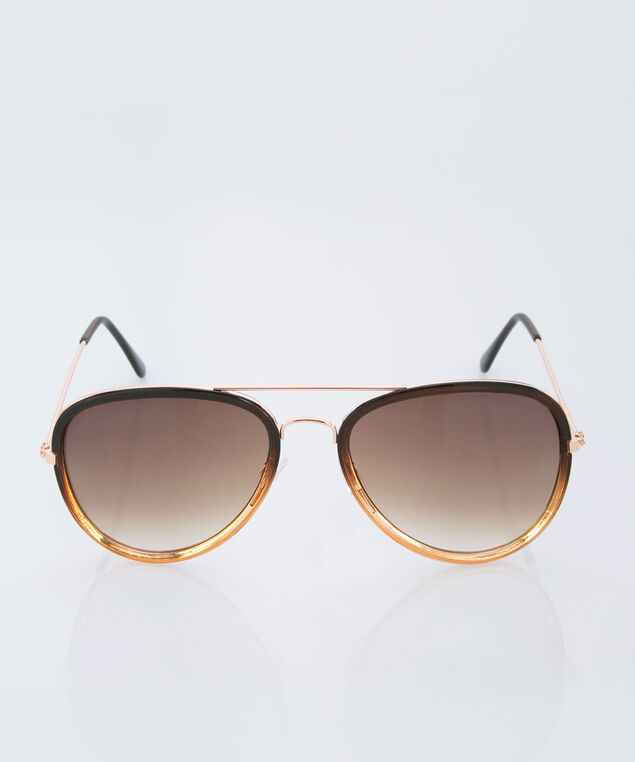 Oversized Aviator Sunglasses, Black/Gold, hi-res