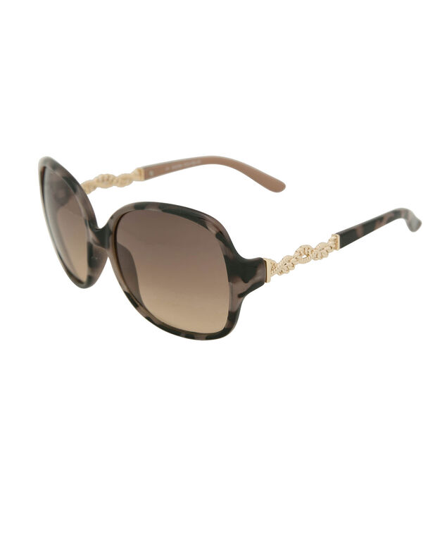 Chain-link Detail Square Sunglasses, Grey/Black/Gold, hi-res