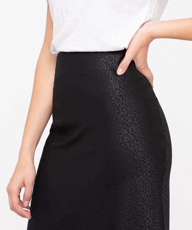 Leopard Print Bias Cut Midi Skirt, Black, hi-res