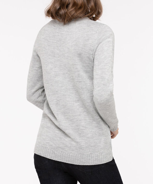 Festive Llama Pullover Sweater, Light Heather Grey/Teal/Black, hi-res