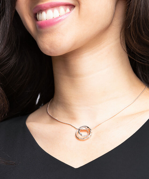 Double Circle Pendant Necklace, Rose Gold/Silver