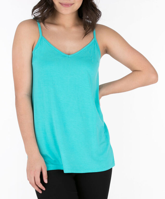 Strappy Flowy V-Neck Cami, Bright Aqua, hi-res
