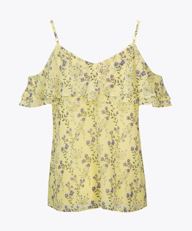 Strappy Cold Shoulder Blouse, Yellow/Purple, hi-res