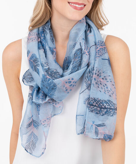 Feather Oblong Scarf, Summer Navy/Cerulean, hi-res
