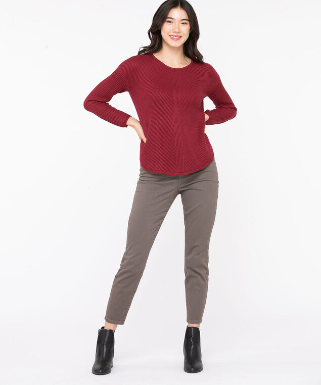 Ribbed Scoop Neck Sweater, Biking Red