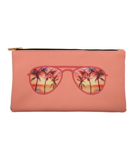 Tropical Print Sunglass Case, Coral/Gold, hi-res