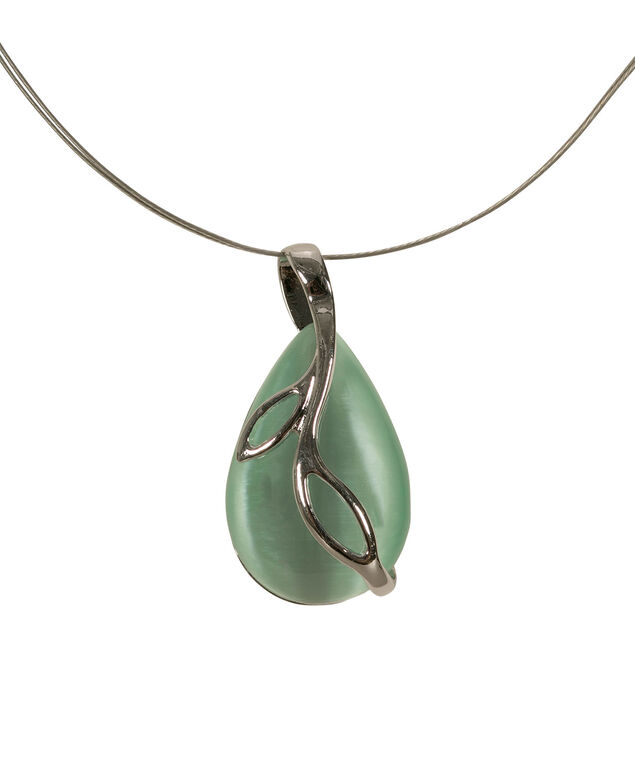 Leaf Wrapped Cateye Necklace, Mint/Rhodium, hi-res
