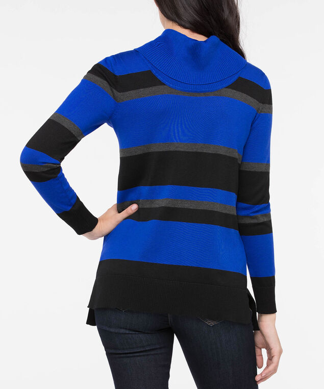 Striped Cowl Neck Sweater, Cobalt/Black/Grey, hi-res