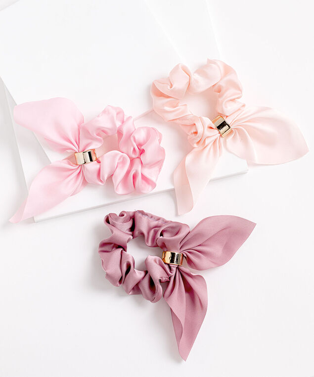 Pink Scarf Scrunchie 3-Pack, Pink
