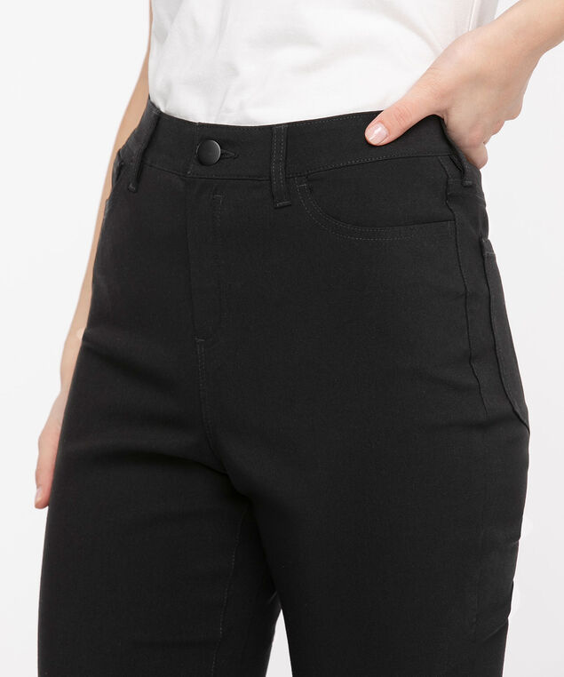 Microtwill Pull-On Crop Pant, Black