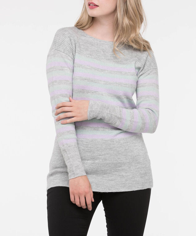 Ribbed Trim Striped Pullover Sweater, Soft Heather Grey/Seafoam/Lilac, hi-res