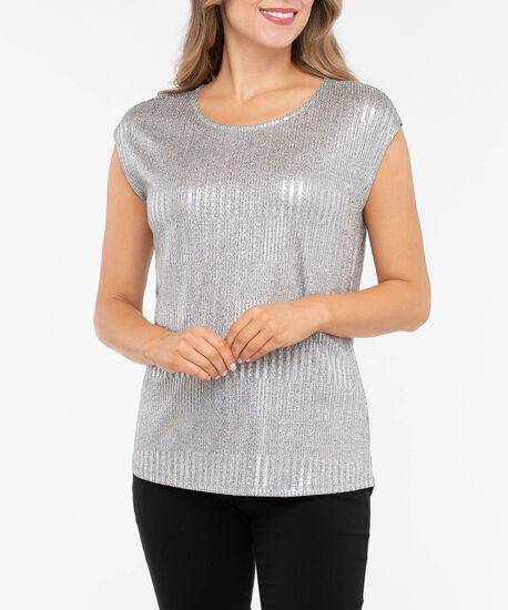 Silver Sparkle Extended Sleeve Top, Silver Sparkle, hi-res