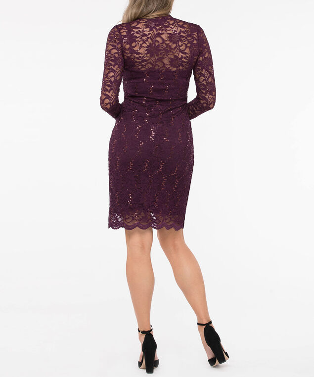 Long Sleeve Sequin Lace Sheath Dress, Deep Purple, hi-res