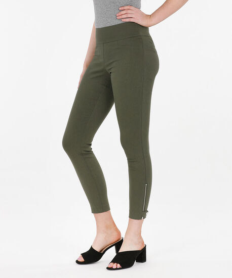 Microtwill Zipper Tab Ankle Pant, Autumn Olive, hi-res