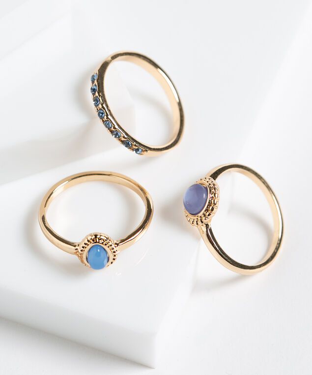 Blue Stone Ring Set, Blue/Gold Metal, hi-res