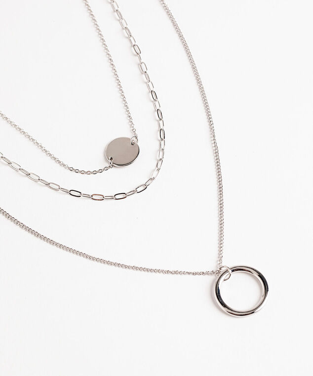 Circle Pendant Layered Necklace, Silver