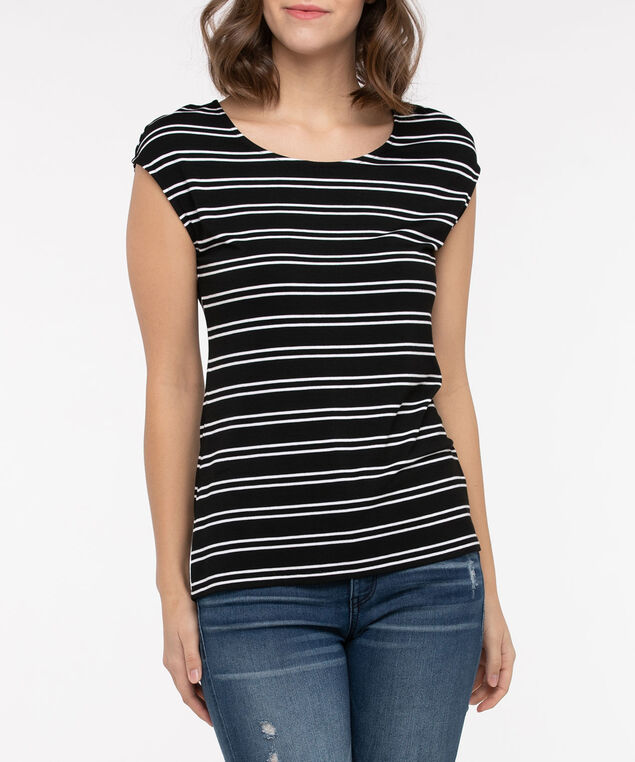 Extended Sleeve Striped Tee, Black/Pearl, hi-res
