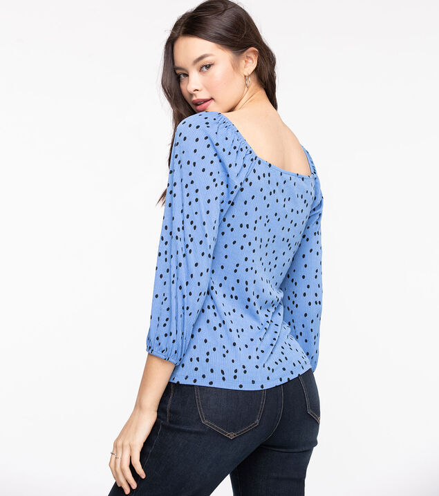 Square Neck 3/4 Sleeve Top, Blue/Black Dot