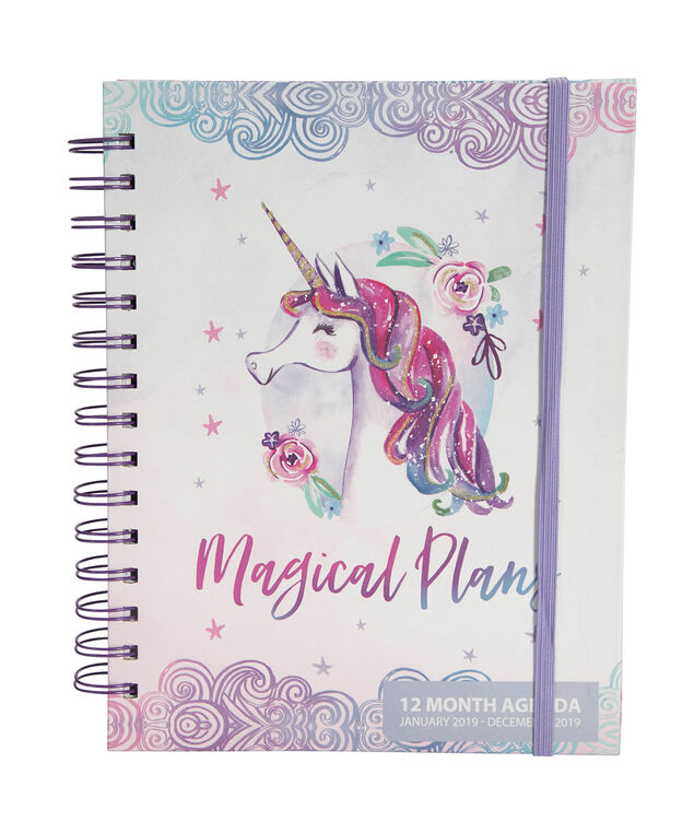 Unicorn 12 Month Weekly Agenda, Pink/Purple, hi-res