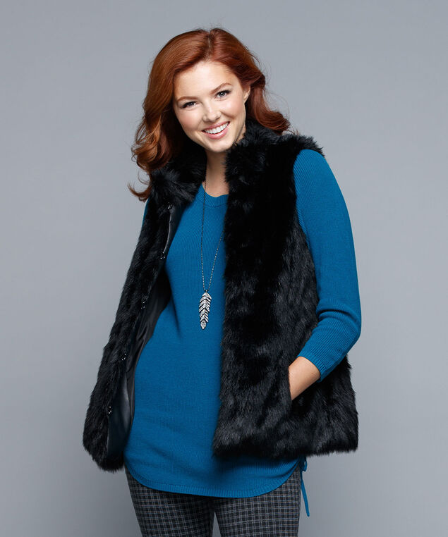 Faux Fur Vest, Black, hi-res