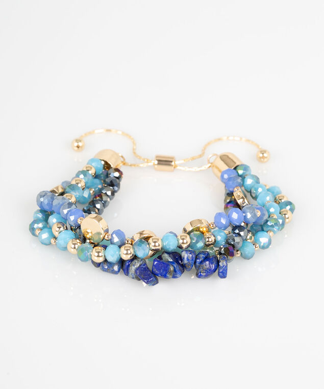 Multi Row Beaded Bracelet, Azure/Sky Blue/Gold, hi-res