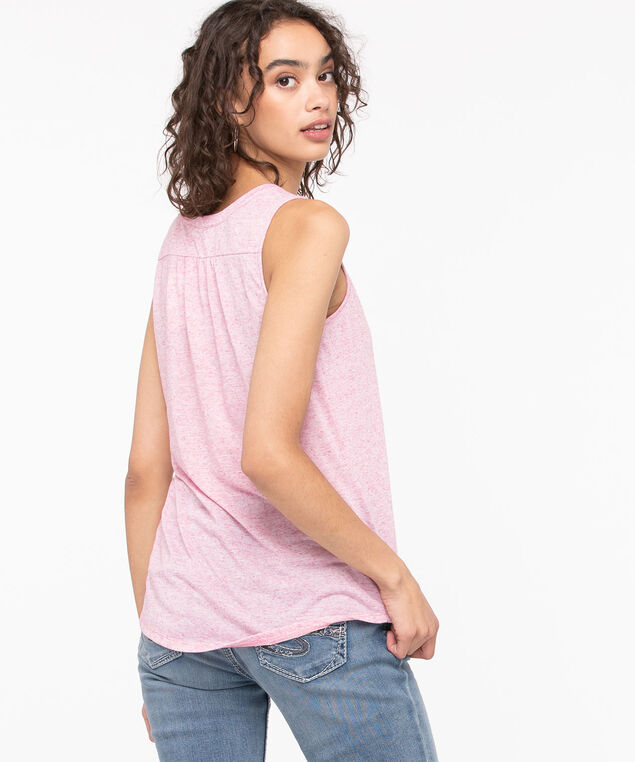 Sleeveless Henley Knit Top, Heather Blush, hi-res