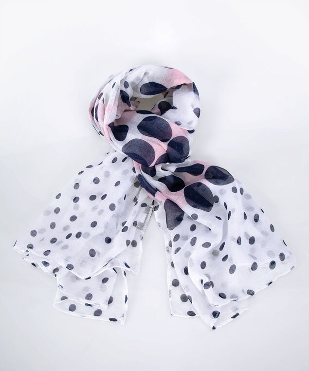 Polka Dot Oblong Scarf, Summer Navy/Cameo Pink, hi-res